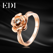 EDI Genuine 3MM 0.1ct Natural Diamond Rose Flower Wedding Ring For Women  Jewelry 10K Rose Gold Real Moissanite Fine Jewelry