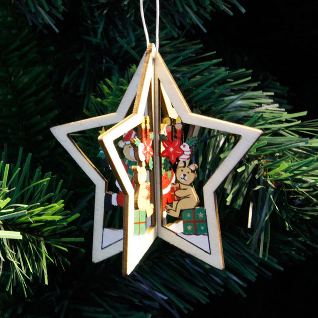 105x10cm Five Pointed Star Shape Christmas Pendant Wooden Type Xmas Hangings Cute Mini