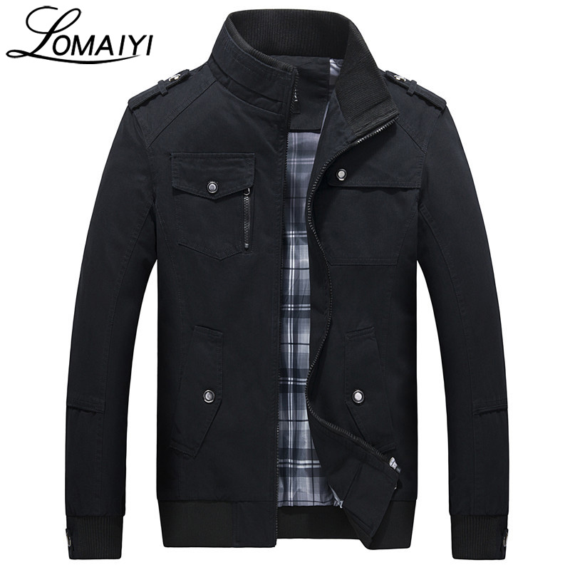LOMAIYI Pure Cotton Bomber Jacket Men Slim Outerwear Coats Black Mens Autumn Jackets With Many Pockets