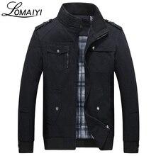 Lomaiyi натуральный хлопок Курточка бомбер Для мужчин Изящная Верхняя одежда Пальто Черный Для мужчин s осенние куртки с множеством карманов Для мужчин ветровка, BM056