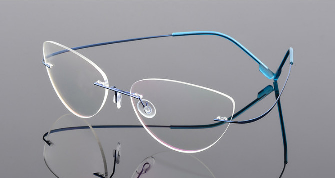 Image 2 - Cat eye titanium rimless Reading Glasses ultra light women alloy Rimless reading eyeglasses Presbyopic glasses +50 +100 to +600-in Women's Reading Glasses from Apparel Accessories on AliExpress