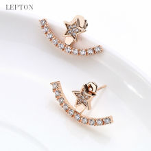 New Arrival Crystal Earrings Ear Jacket Lepton Gold Color Plated Earings Stainless Steel Earring Stud Earrings