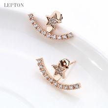 New Arrival Crystal Earrings Ear Jacket Lepton Rose Gold Plated Earings Stainless Steel Earring Stud Earrings For Women Jewelry
