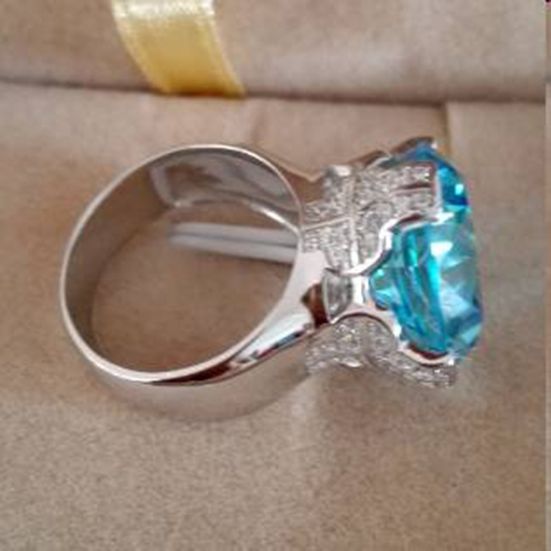 Qi Xuan_Blue pierre luxe Rings_Finger Rings_S925 solide argent mode bleu pierre ring_fabricant directement ventes - 4
