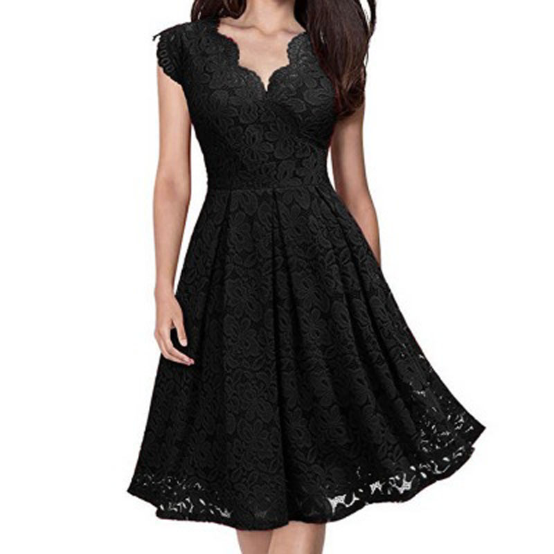 Women clothes 2019 Lace dress V-neck sleeveless lace summer vintage sexy top party