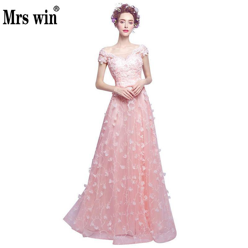 Evening Dresses 2017 New Fashion Flowers Peals Banquet Sweet Pink Lace Flower Beading Party Gown Prom Dresses Robe De Soiree