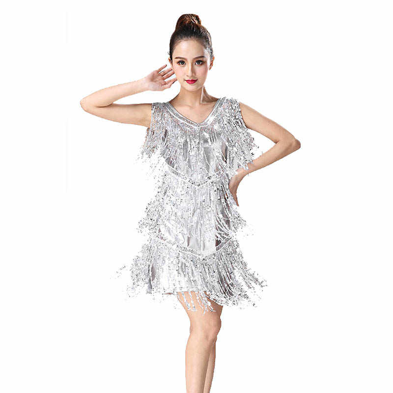 8aae1c063 ... 2019 latin dance skirt women costume Lady Latin Dance Dress Samba Tango  irregular fringe Dress For ...