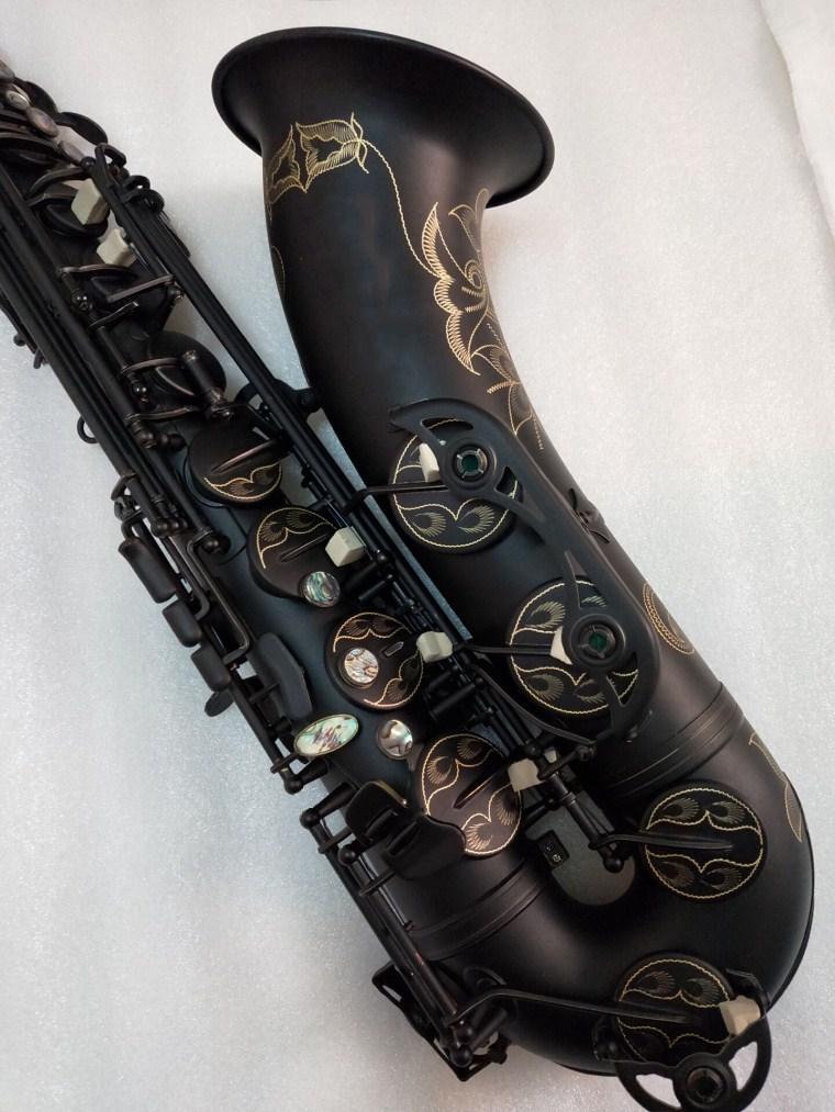Saxofón de alta calidad STS-54 Tenor B instrumento de música plana Tenor tocando saxofón de oro de níquel negro profesional con caña