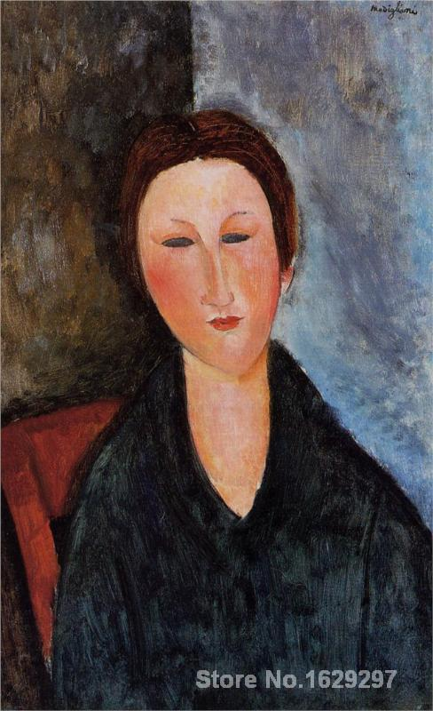 Bust of a Young Woman (Mademoiselle Marthe) by Amedeo Modigliani Canvas art Painting High quality Hand paintedBust of a Young Woman (Mademoiselle Marthe) by Amedeo Modigliani Canvas art Painting High quality Hand painted
