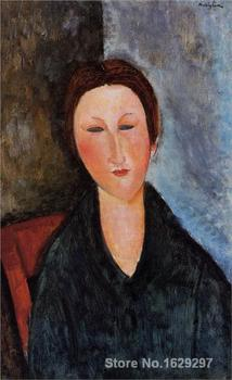 Bust of a Young Woman (Mademoiselle Marthe) by Amedeo Modigliani Canvas art Painting High quality Hand painted