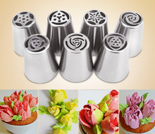 7pcs Russian Tulip Nozzles Stainless Steel Icing Piping Tips Set Cupcakes Rose Flower Pastry Cake Boquillas  Decorating Tools