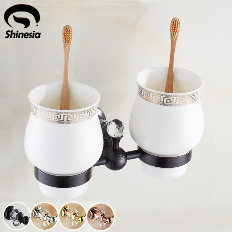Oil Rubbed Bronze Double Ceramic Cup Toothbrush Holder Wall Mounted Gold Finish black oil rubbed bronze wall mounted toothbrush holder with two ceramic cups wba472
