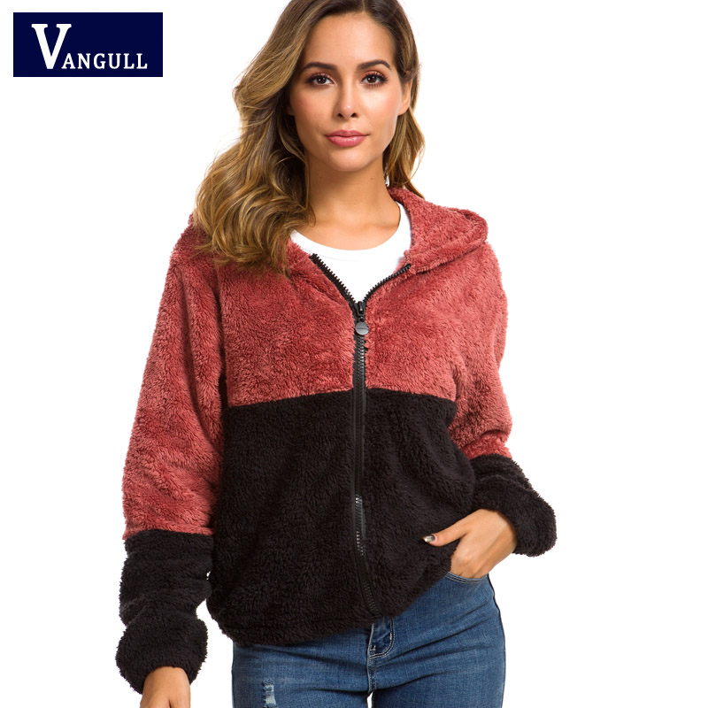 Vangull Colorblock Hooded Teddy   Jacket   Women   Basic     Jackets   And Coats Casual Autumn Clothing Thick Zipper Long Sleeve Outerwear