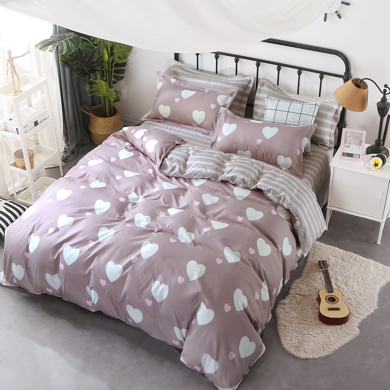 AB side bedding set heart bed linens flat sheet summer style bedclothes adult home bed s ...