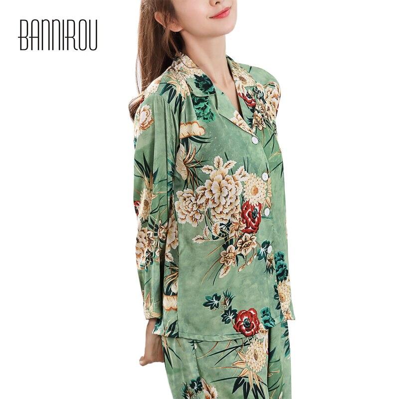 Floral zijden vrouw pyjama set satijn chiffon dunne losse groene knop - Dameskleding