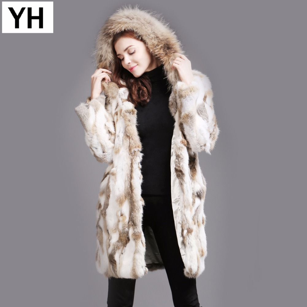 New Fashion Women Real Rabbit Fur Coat Winter Warm Soft Rabbit Fur Jacket With Raccoon Fur