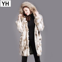 New Fashion Women Real Rabbit Fur Coat Winter Warm Soft Rabbit Fur Jacket With Raccoon Fur Collar Hooded Rabbit Fur Outerwear cheap Real Fur Raccoon Dog Fur YH-04238 REGULAR Casual With Raccoon Dog Fur Collar Double-faced Fur Patchwork Long Full Thick (Winter)