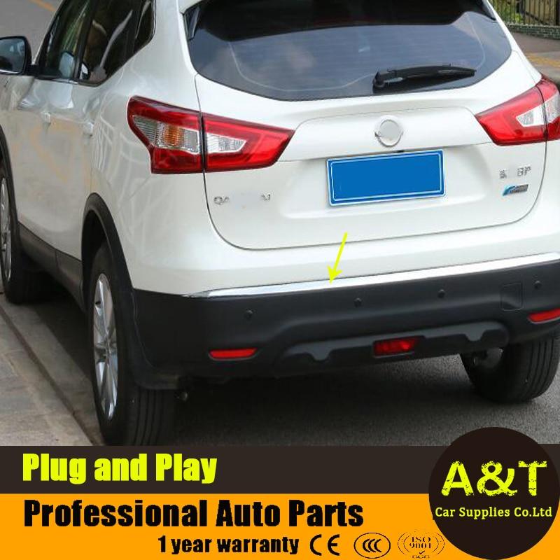 ФОТО 2016 model car styling for Nissan Qashqai high quality chrome rear bumper decoration abs strip 1 pcs Car Accessories