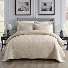Quality Cotton Bedspread Quilt Set 3pcs Coverlet Solid Quilted Embroidered Quilts Bed Cover Pillowcase King Size Bedding Blanket цена 2017