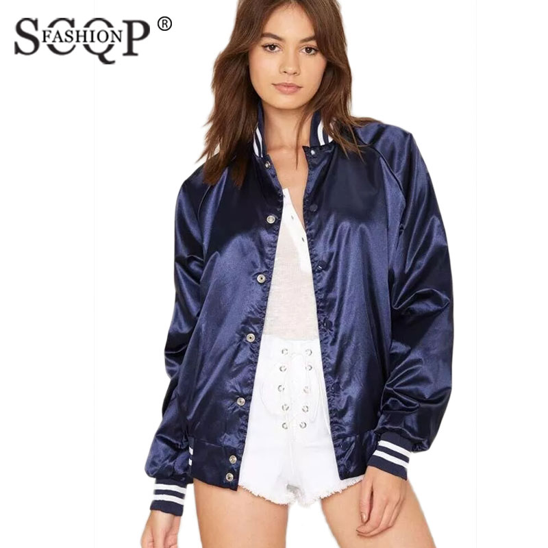 SCQP FASHION Letter Printed Lady Satin Bomber Jacket Single Breasted Solid Womens Jackets Pockets Casual Autumn Coat Women 2017