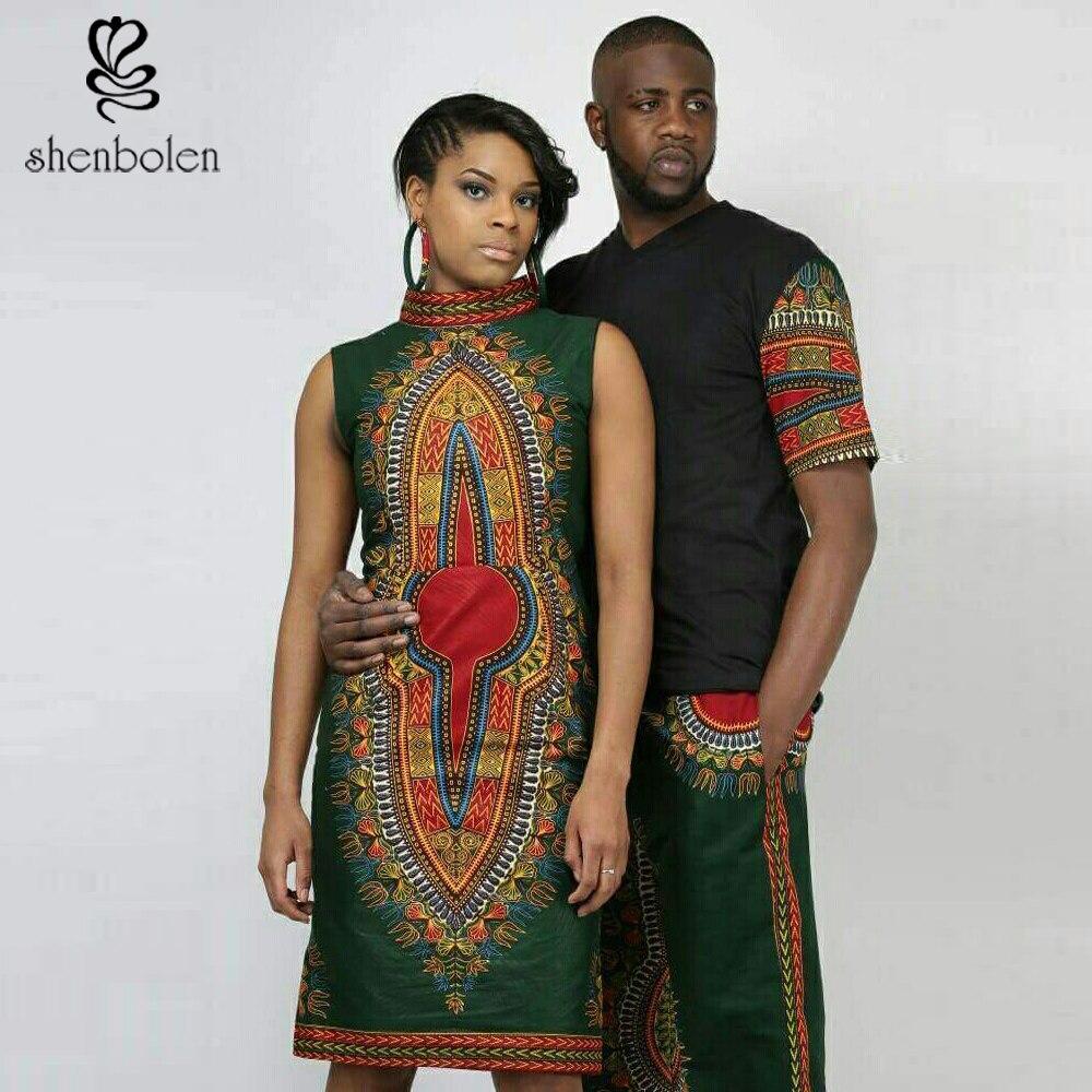 shenbolen 2018 summer fashion Clothing dress batik dashiki Men tops+pants African dresses for women Pure cotton plus size