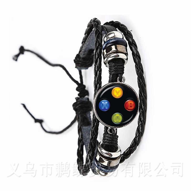 Pulsera de cuero del controlador del juego novio creativo regalo Idea joyería Video juego controlador patrón 20mm vidrio Domo brazalete