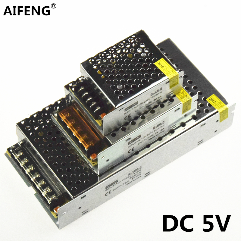 AIFENG DC 5V switching power supply source 110V / 220V To dc 5V 4A 5A 6A 10A 20A 60A 5V 220v to 5v power supply transformer switching power supply 12v 6a 80w source power 12 v 220v to 12v ac dc power supply dc12v 80w source fuente de alimentacion