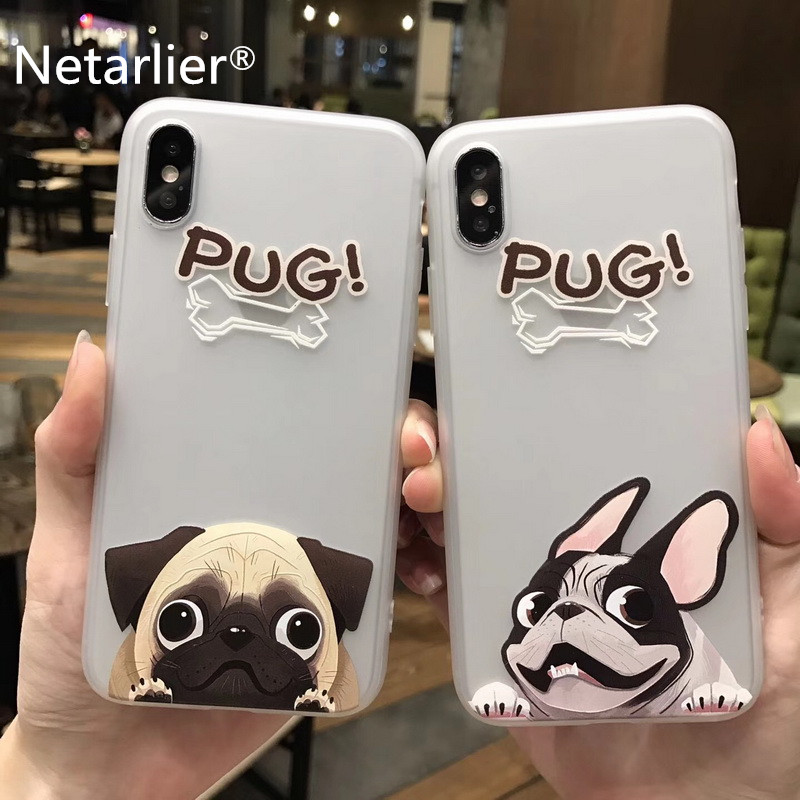 Netarlier Phone Case For iPhone X Fashion Cute Cartoon Animal Pug Dog BULLDOG Protective Matte TPU Soft Capa Fundas Coque HOT!