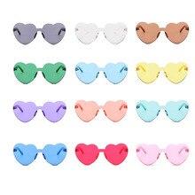 Женские солнцезащитные очки в форме сердца без оправы, цветные солнцезащитные очки с прозрачными линзами красного, розового и желтого цветов, аксессуары для путешествий