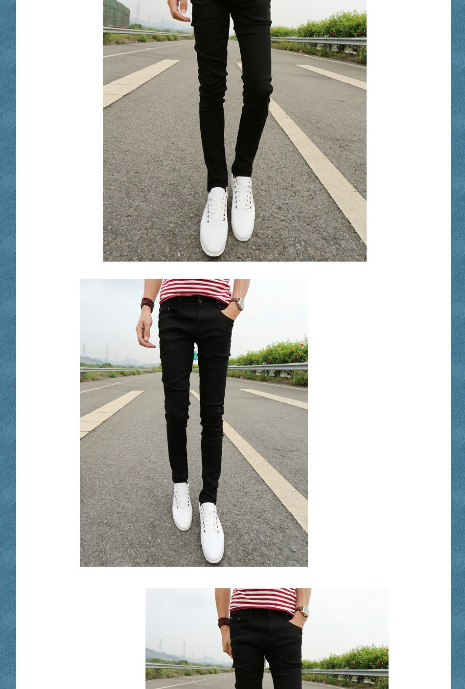 New 2020 Spring Summer Skinny jeans mens leisure stretch feet pants tight black length trousers Cheap Pencil Pants Men wholesale