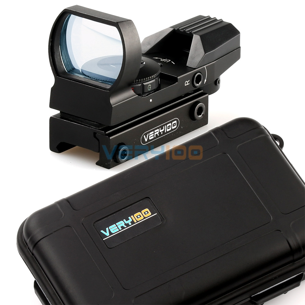 VERY100 Tactical Holographic 4 Type Reticle Red/Green Dot Reflex Sight Scope 20mm Rail Mount + Waterproof Box цена
