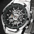 Vencedor Marca Homens Completa de Aço Inoxidável Assista Men Skeleton Auto Mecânica Relógio Auto-Vento Vestido Masculino Relógio Relogio masculino
