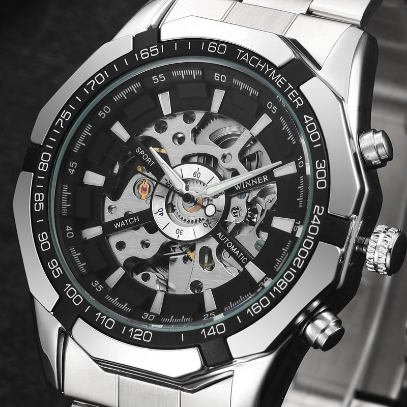 Winner Brand Men Full Stainless Steel Watch Men Skeleton Auto Mechanical Watch Self-Wind Male Dress Clock Relogio Masculino fashion 40mm pranis silver dial full stainless steel sapphire glass automaic self wind mechanical men s business watch