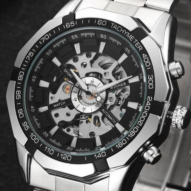 398d38d3085 Winner Brand Men Full Stainless Steel Watch Men Skeleton Auto Mechanical  Watch Self-Wind Male Dress Clock Relogio Masculino