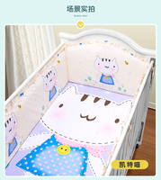 Promotion 6PCS Crib Bedding Set 100 Cotton Bedclothes Bed Sheet Bumper Sheet Pillow Cover