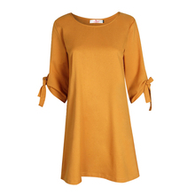 2017 Autumn Summer Dress For Women Roupa Tunic Work Dresses Tie Bow Pencil Casual Wear Clothes