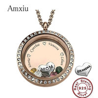 Amxiu Personalized Mother Gift 100% 925 Sterling Silver Pendant Jewelry Custom Engrave Four Names Round Pendant Necklace For Mom