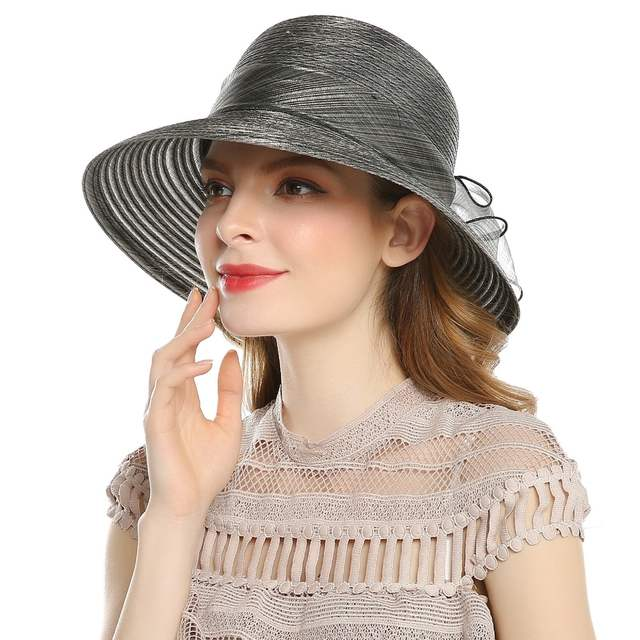 8262bba0e9f placeholder WELROG Elegant Fashion Women s Church Hats For Women Big Bow  Flower Summer Sun Protect Hat Wedding