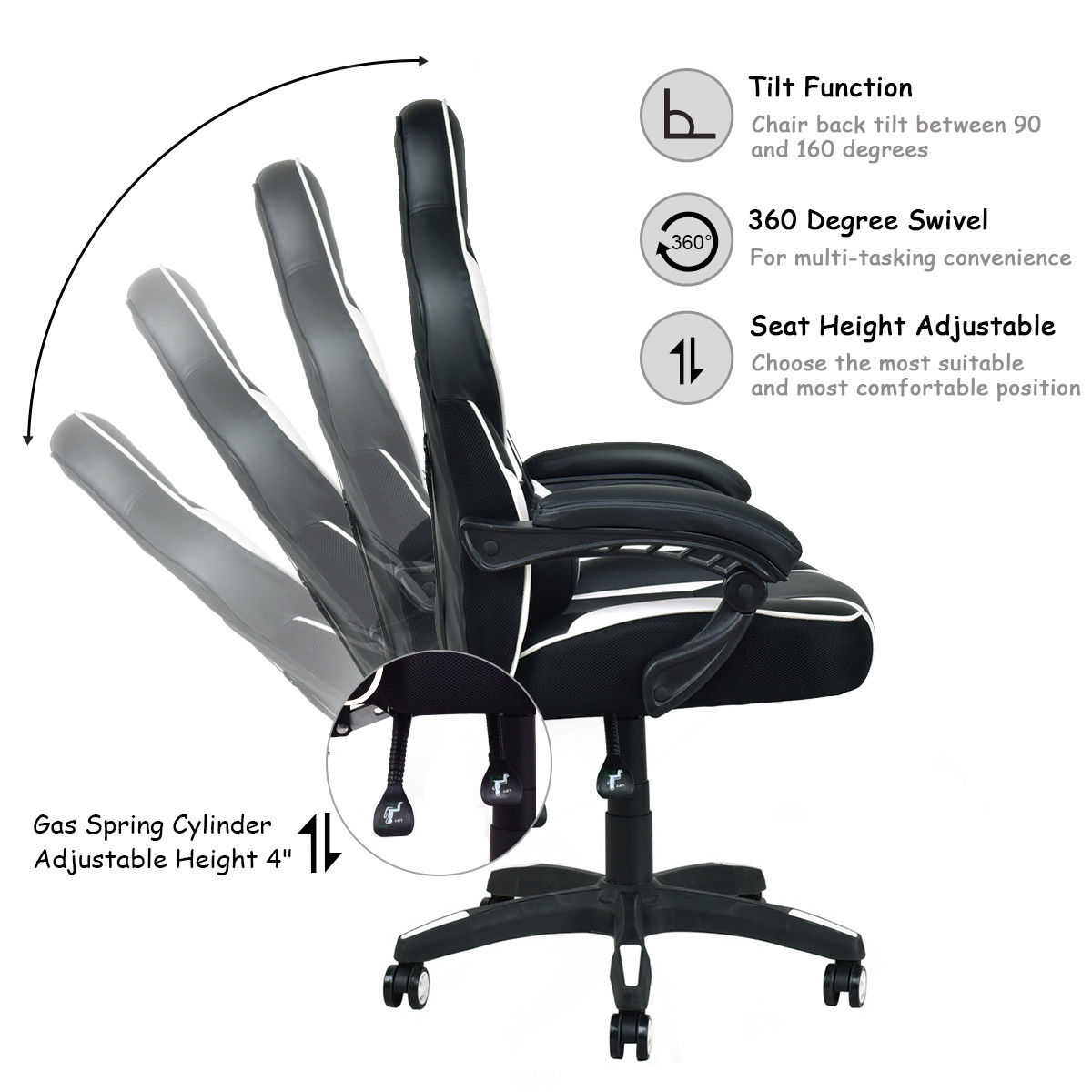 Superb Us 119 99 Giantex Modern Executive Racing Style Gaming Chair High Back Recliner Pu Leather Swivel Office Chairs Hw56246Wh In Office Chairs From Ocoug Best Dining Table And Chair Ideas Images Ocougorg