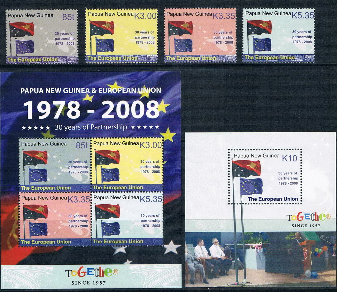 Friendly 30 years Q2277 Papua New Guinea, 2008 and the European Union flag stamp 4 + + M new 0618 MS nathaniel copsey tim haughton the jcms annual review of the european union in 2014
