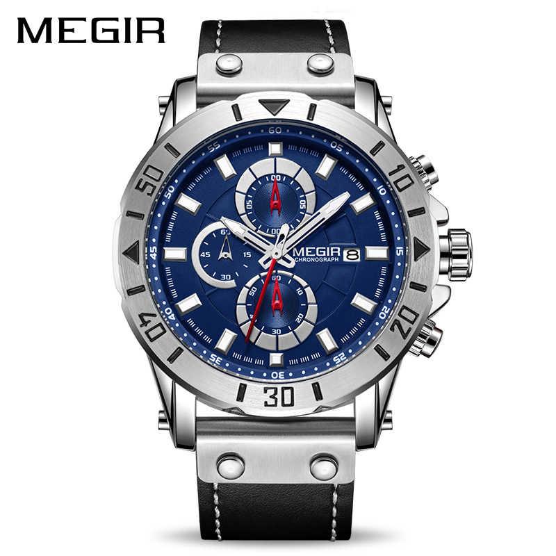 הכרונוגרף קוורץ שעונים לגברים למעלה מותג יוקרה MEGIR כחול גברים ספורט שעונים שעון Relogio Masculino Montre Homme שעה זמן