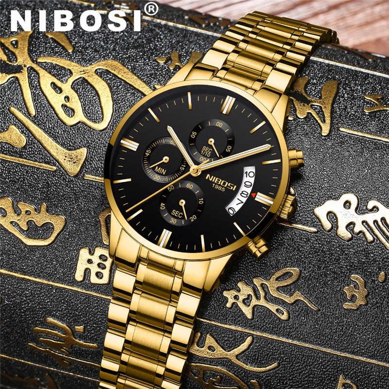 NIBOSI Relogio Masculino גברים הכרונוגרף ספורט שעונים אופנה מקרית זהב קוורץ שעוני יד עמיד למים יוקרה זכר שעון