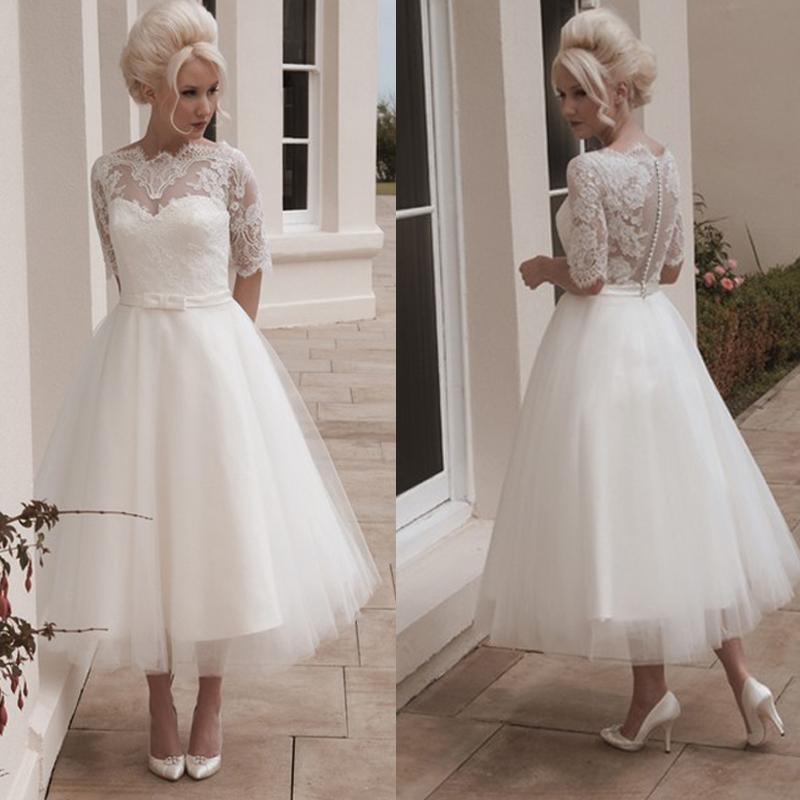 Latest Wedding Gowns 2014: W005 Romantic Half Sleeve Custom White/Ivory A Line Short