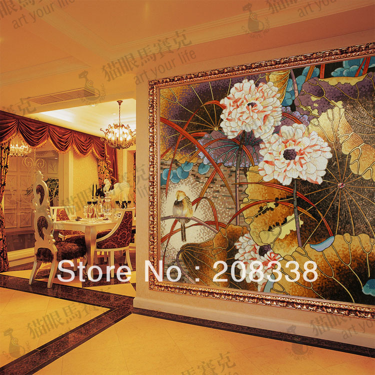 Magnificent Flowers Gl Mosaic Tile Modern Art Wall Mural