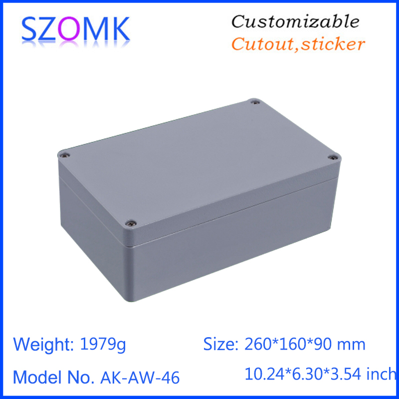 1 piece, 260*160*90mm szomk waterproof die cast aluminum enclosures for electronics customizable aluminum junction box цена
