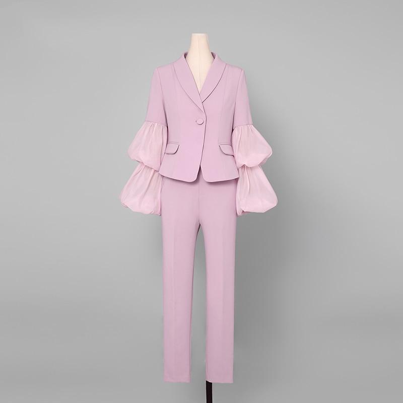 2019 Sexy Fashion Pant Anzüge Set Lange Puff Sleeve Mesh Verstärktes Top Frauen 2 Stück Bleistift Hose Setzt Frauen Zwei stück Outfits - 2