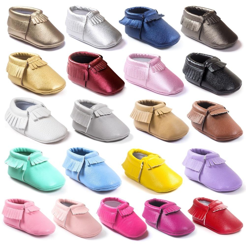 Kūdikių PU oda Kūdikių mocassins batai mergaitėms berniukai Pirmieji vaikščiojimai karšto moccs Minkšti apatiniai mados puokeliai naujagimiams Bebe CX05C
