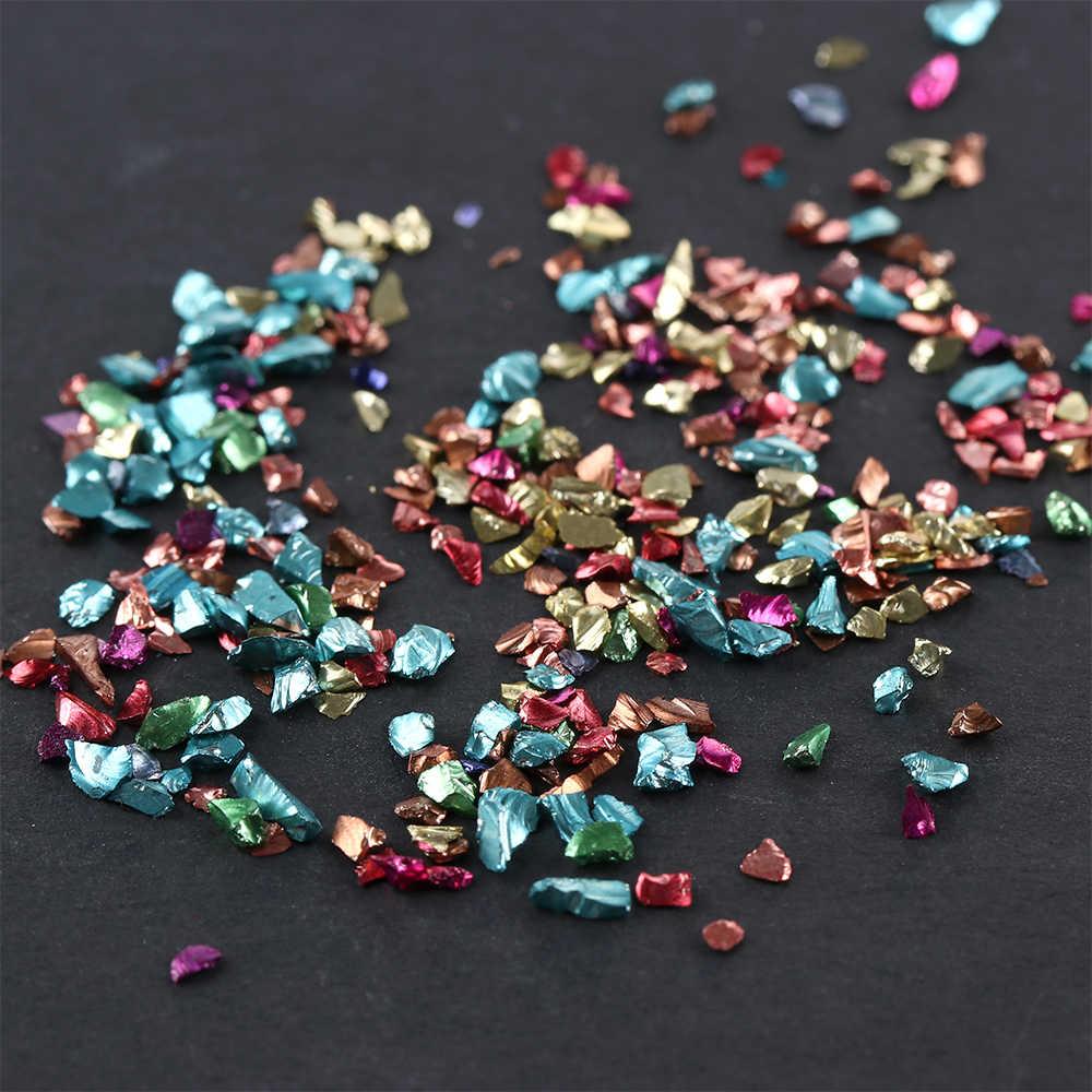 1 Tas Tidak Teratur Manikur Dekorasi Logam Warna Broken Stone 3D Nail Art Shell Glitter Bubuk Batu Dekorasi DIY Kuku Alat