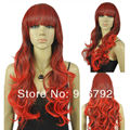 FREE SHIPPING >>full bangs women long curly wavy fresh red cosplay party hair wig heat resistant