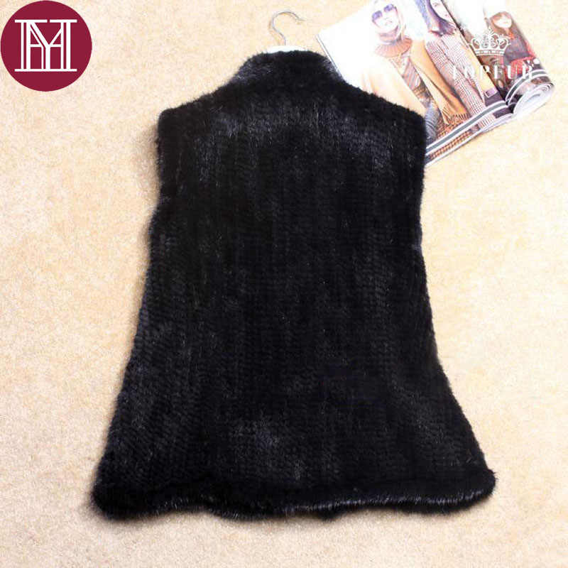 新到着冬の女性の inport 毛皮のベストエレガントな女性ニット本物のミンクの毛皮コートノースリーブ黒コーヒー上着